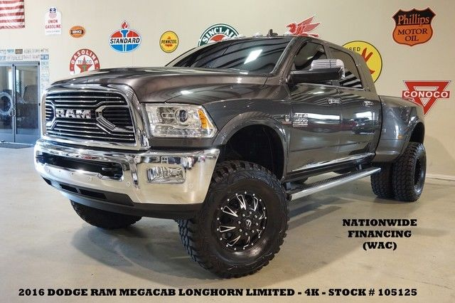 16 Ram 3500 Drw Longhorn Limited 4x4 Lifted Roof Nav Htd Cool Lth Fuel Whls 4k
