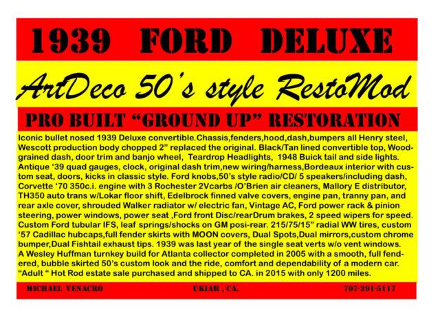 1939 Ford Convertible Restomod 2 K Miles