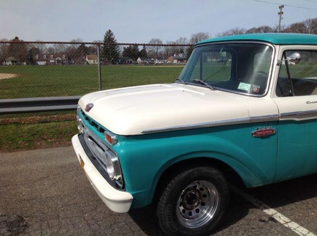 1966 ford f100 custom cab v8 long bed pick up truck pickup f 100. Black Bedroom Furniture Sets. Home Design Ideas