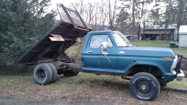 1979 ford f250 4x4 dually flatbed dump with plow. Black Bedroom Furniture Sets. Home Design Ideas