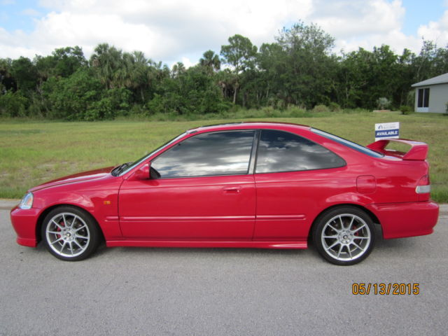 1999 Honda Civic Si Coupe Em1 16l 2 Door Milano Red Sunroof Rear
