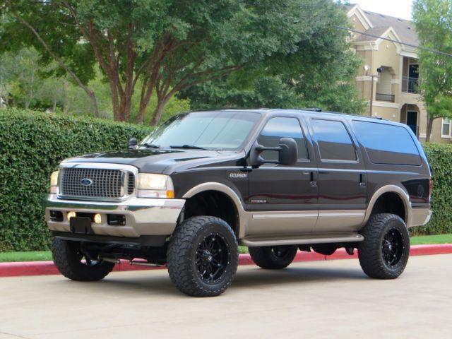 """8 Door Excursion >> 2-Owner 7.3L 4x4 Limited Quad Seats 6"""" Lift Fox 20"""" Fuel Rims 2003 Rare TX MINT!"""