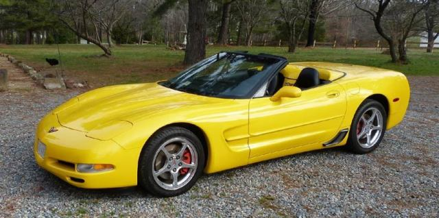 2001 Yellow Corvette Convertible 32k Miles Always Garaged Black Leather