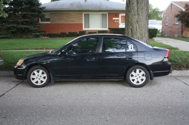 2003 honda civic ex sedan 5 speed manual black 4 door needs engine. Black Bedroom Furniture Sets. Home Design Ideas