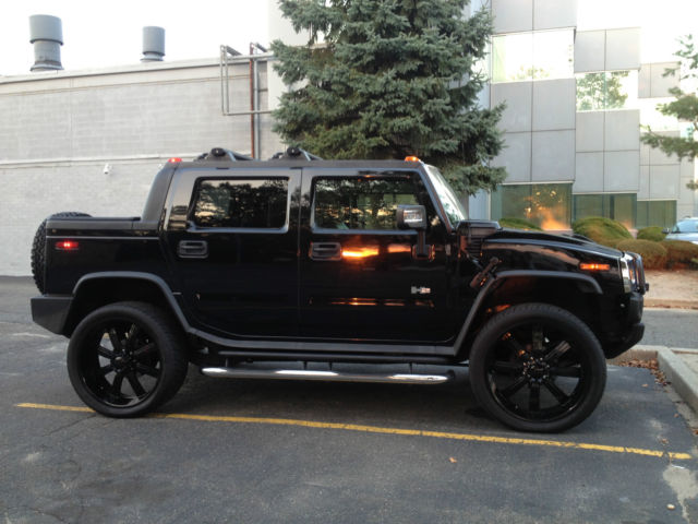 2006 hummer h2 sut cold air intake 26 quot gloss black rims kenwood deck and subs