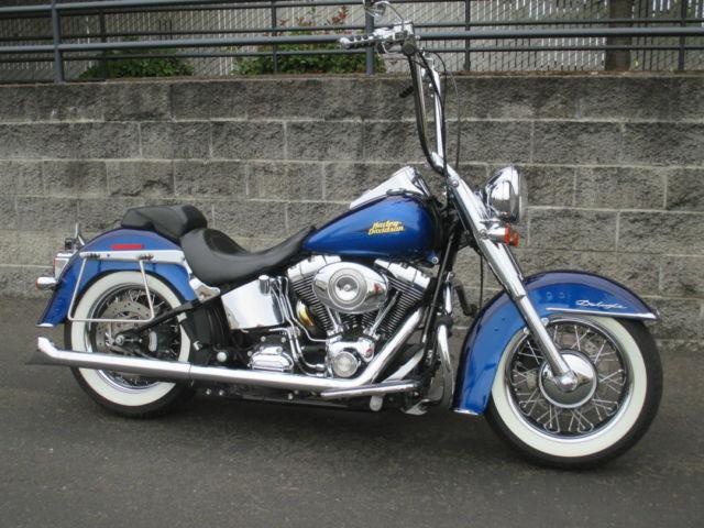 Harley Davidson Flstn Softail Deluxe Two Tone Jake Elwood Blue on Harley Softail Oil Cooler