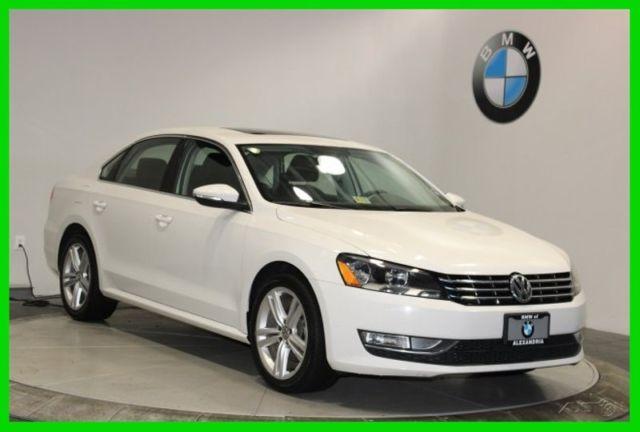 2012 Volkswagen Passat Se White Sedan Se Sunroof Navigation Automatic