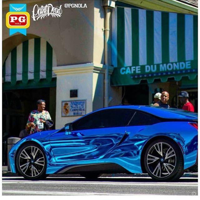 2015 BMW I8 Chrome Blue Wrapped