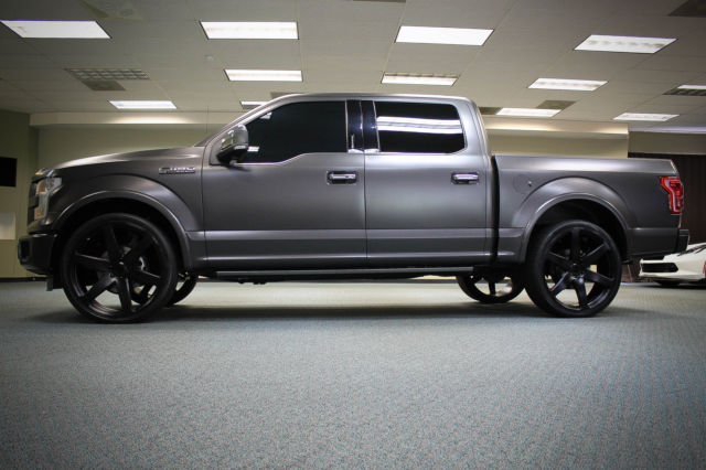 """Ford F150 Factory Rims For Sale >> 2015 F150 F-150 PLATINUM CUSTOM MATTE GRAY WRAP 26"""" CONCAVO WHEELS PANO ROOF WOW"""