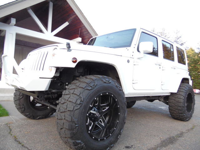 2015 JEEP WRANGLER UNLIMITED CUSTOM LIFTED WHITE LEATHER 4X4