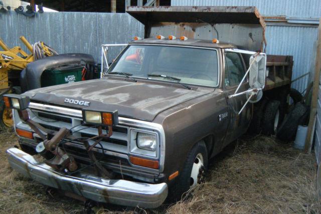 89 Dodge Ram 2 Wd Dually Dump Truck Wsnowplow Elechyd Western 8 Ft