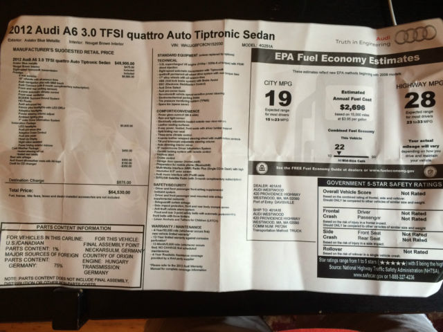 Audi A6 30 TFSI Quattro AWD Prestige Package NO RESERVE
