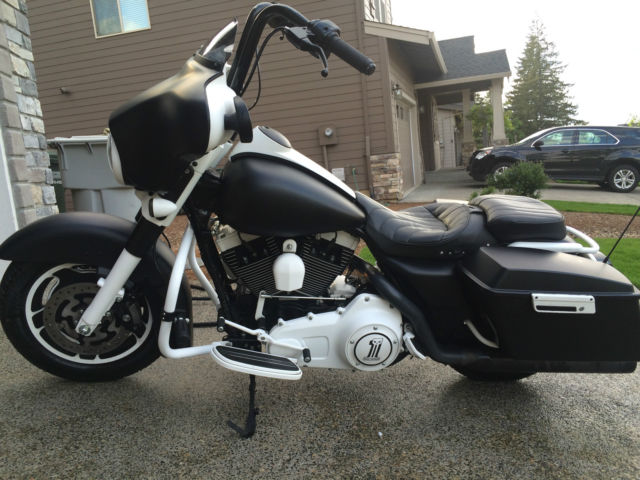 Black And White Harley Davidson Street Glide Touring