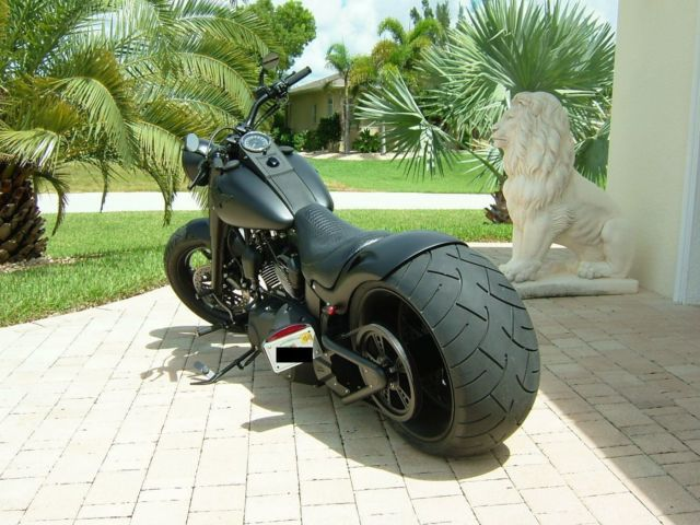 Harley Fatboy Lo Blacked Out With 300 Rear Wheel 2010