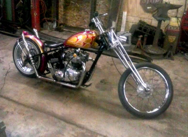 Killer 1970 Triumph Chopper Kustom Panel Painted Flaked And Flamed