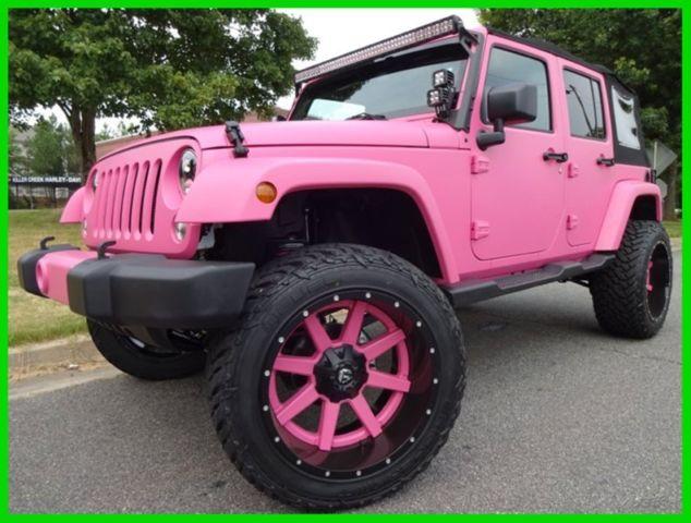 matte pink paint 22 two piece wheels rigid lights jw speaker lights 35 tires. Black Bedroom Furniture Sets. Home Design Ideas