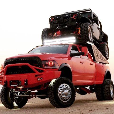 Ram Mega Cab Interior >> SEMA Custom vehicles (2), lifted, 1 of kind package Ram dually diesel with Jeep
