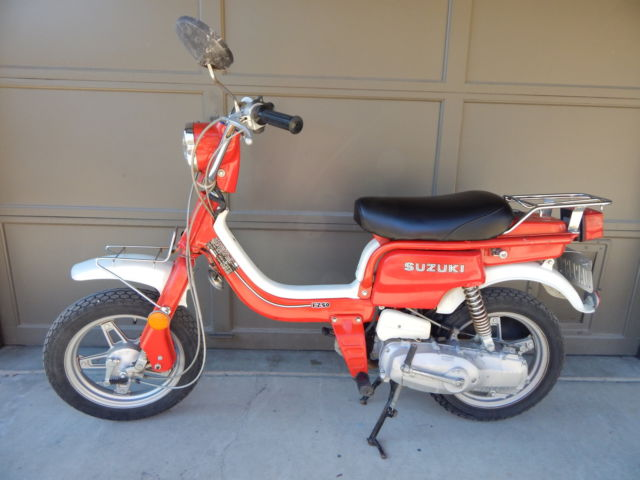 suzuki scooter red honda 50cc vintage. Black Bedroom Furniture Sets. Home Design Ideas