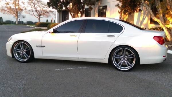 unique 2009 bmw 750i rare white tan 22 wheels h r springs. Black Bedroom Furniture Sets. Home Design Ideas