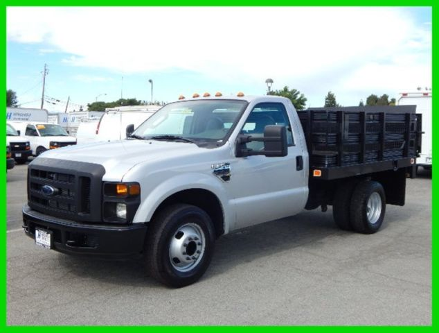 used 2008 ford f350 9 39 flatbed stake truck 5 4l gas. Black Bedroom Furniture Sets. Home Design Ideas
