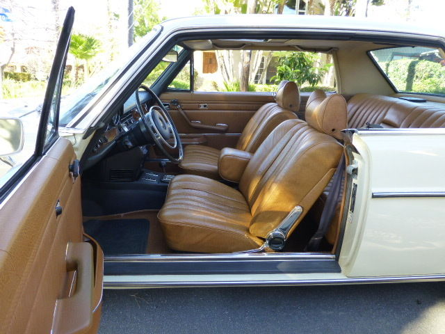 well preserved 1971 mercedes benz 250c w114 ivory cognac leather 46 400 miles. Black Bedroom Furniture Sets. Home Design Ideas
