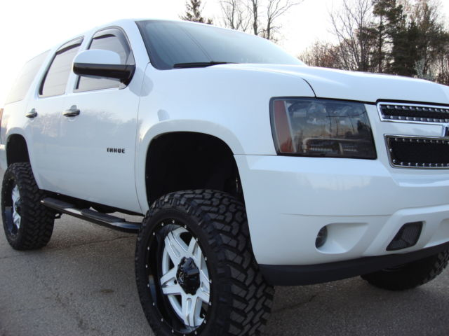 White Chevy Tahoe Lifted 22inch Fuel Off Road Wheels