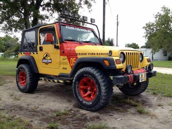 yellow 2001 jurassic park jeep wrangler tj sport 4x4 l6. Black Bedroom Furniture Sets. Home Design Ideas
